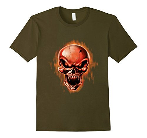 Mens Group Halloween Costume T Shirt Cool Skull Head Skeleton Fun Small Olive