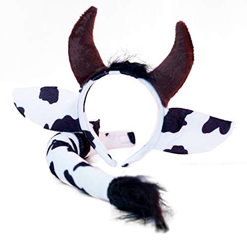 Cow Headband Ears and Tail Set - One Size - Costume Accessories Black -