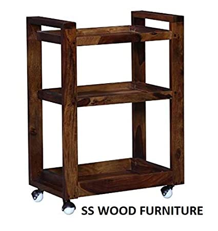 SS WOOD Furniture Bar Trolley/Serving Trolley/Wooden Service Trolley (Sheesham Wood) (Teak Wood Shade)