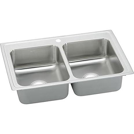Elkay BPSR23171 1 Hole Gourmet Double Basin Drop In Stainless Steel Kitchen  Sink,