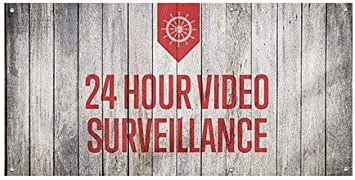 CGSignLab 24 Hour Video Surveillance 8x4 Nautical Wood Wind-Resistant Outdoor Mesh Vinyl Banner