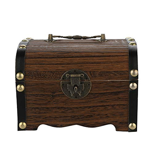 Weite Handcrafted Wooden Safe Money Piggy Bank Treasure Chest Box with Lock, Unique Antique Inspired Money Saving Pot Toy and Treasure Game (Brown)