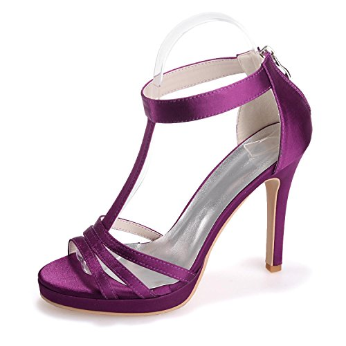 amp; Toes More YC 5915 Peep Silk Available 14 Heels Sandals L Evening Purple Zipper High Colors Wedding Women'S Fine 4RPwf8