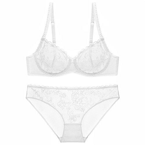 Women's Push Up Embroidery Bras Set Lace Lingerie Bra Panties(White32C)