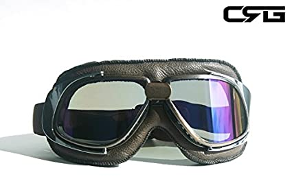 0518814a0e48 CRG Sports Vintage Aviator Pilot Style Motorcycle Cruiser Scooter Goggle  T10 T10NRN-1 Multi-
