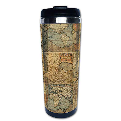 - Stainless Steel Insulated Coffee Travel Mug,Antique Old World Maps Vintage Style Ancient,Spill Proof Flip Lid Insulated Coffee cup Keeps Hot or Cold 13.6oz(400 ml) Customizable printing