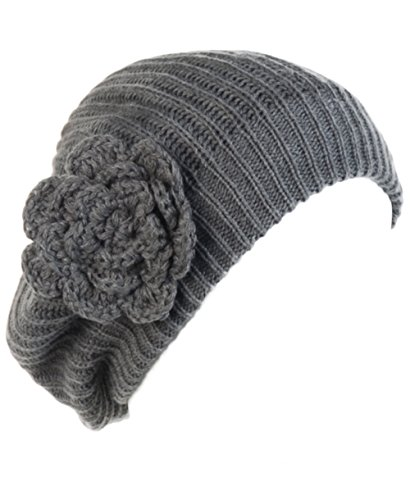 Layer Side Cut Out - BYOS Ladies Winter Solid Chic Slouchy Ribbed Crochet Knit Beret Beanie Hat W/WO Flower Adornment, Soft Touch (Gray Flower)
