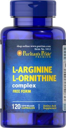 Pride L-Arginine L-Ornithine de Puritan's 500 mg/1000 mg-120 Capsules