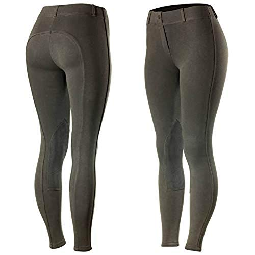 (Horze Ella Women's Pull-On Knee Patch Breeches - Dark - Grey - Size 26)