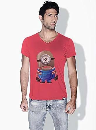 Creo Minion Skeleton Minions Vshape Neck T-Shirt For Men - Pink, M