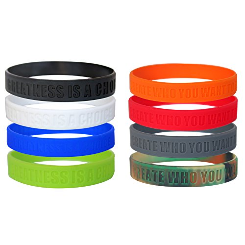 GOMOYO Greatness is a Choice, Create Who You Want to Be Silicone Wristbands with Quote, Rubber Bracelets for Fitness, Workout, Crossfit, Basketball, Weight Training (Multipack - 8 Wristbands)