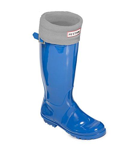 Festival Ladies Original Tall Warm Winter Rain Wellies Wellington Boots Sizes 3-9 UK Blue / Grey