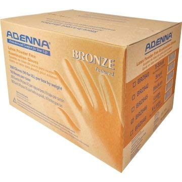 Adenna Bronze 5 Mil Latex Powder Free Exam Gloves, Small-Case of 1,000