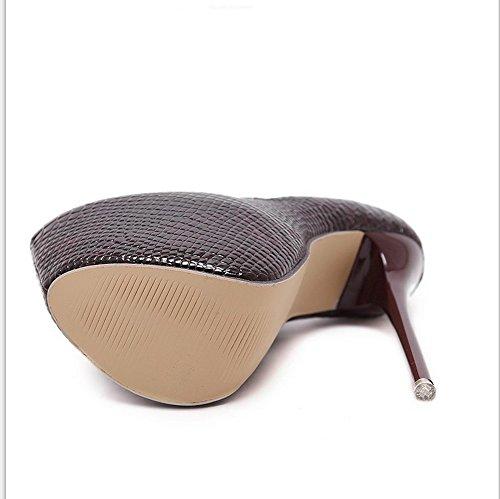 AdeeSu Womens Business Casual No-Closure Urethane Pumps Shoes Claret
