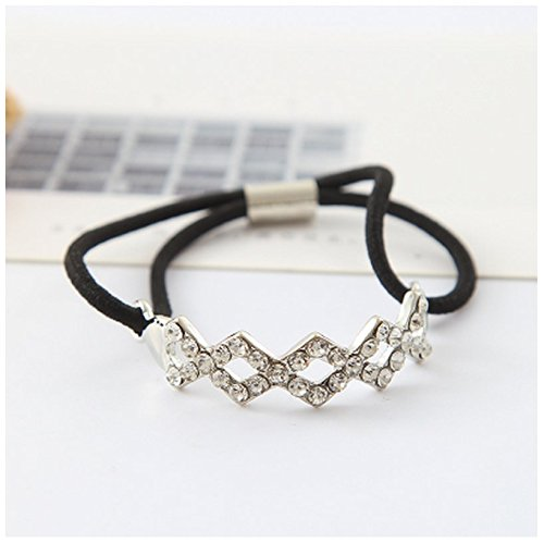 Smile Pentagram Brushed Metal Alloy Feather Ball Chain 8 Word Diamond Hair Ring Elastic Rope Ponytail Holder (8 Golden Fount Silver Diamond - Base Fount