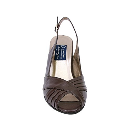 Toe FIC Women Peep Brown Wide PEERAGE Size Pleated Upper Buckle Slingback with Width Measurement Daphne Guide SXYwqSxEr