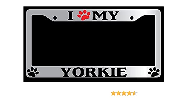 Chrome License Plate Frame I Heart my Yorkie Auto Accessory Peticular