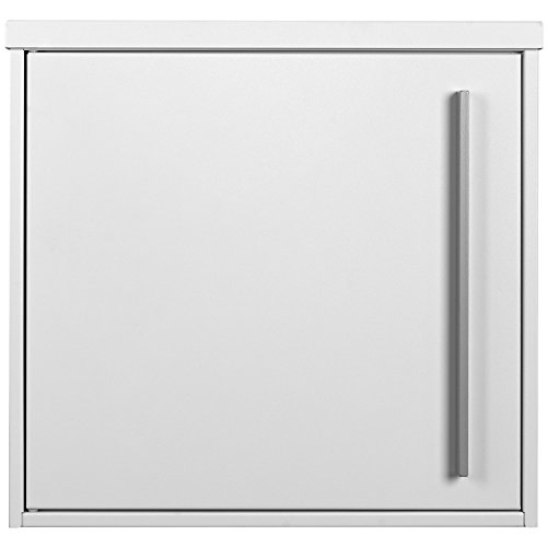 Wall-Mounted RAL 9003 White Large MOCAVI Box 144 Designer Piece Letterbox with Newspaper Compartment