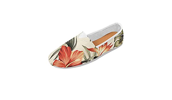 InterestPrint Womens Classic Flats Casual Comfortable Flat Slip-On Loafer Sneaker Shoes Palm Foliage
