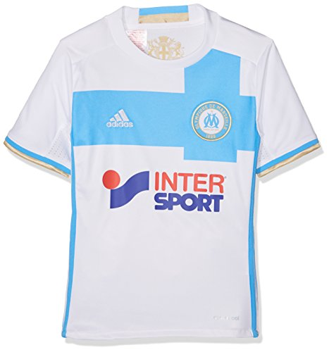 fan products of adidas Olympique Marseille 2016/17 Home Shirt Junior, White/Blue, Age 15-16