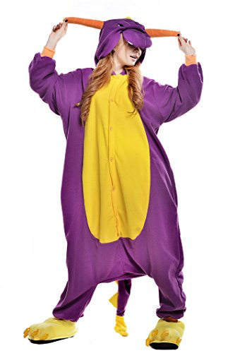 NEWCOSPLAY Unisex Adult Animal Pajamas Halloween Costume (L, Purple Dragon)]()
