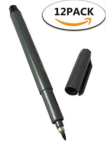 ROF Brush Pen Art Markers 12-Pack Refill Pens for Brush Hand Lettering Modern Calligraphy,Flexible Tip Easy Control Thin/Thick Strokes for Beginner,Black ()