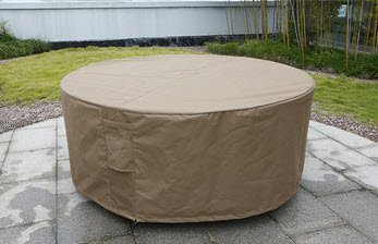 Housse marron pour salon de jardin rond 160cm polyester imperméable ...