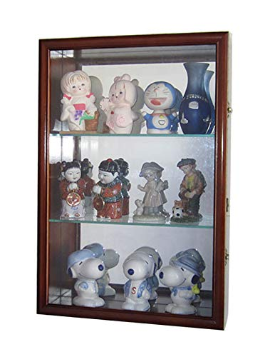 Wall Collectors Curio - Wall Curio Cabinet/Collectors Display Case Wall Mounted, Glass Door, Mirrored Back, CD01B-WAL