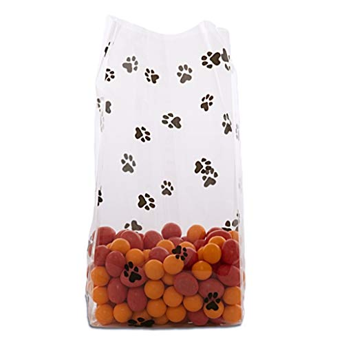 50 Animal Dog Cat PAW PRINT Gusset Cello Bag Favor Gift 3.5 x 7.5