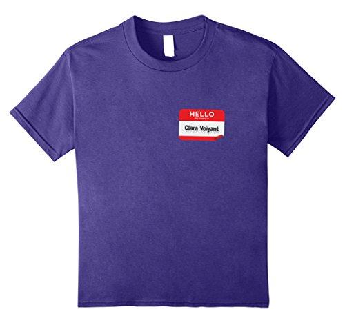 Clairvoyant Costume (Kids Hello My Name Is Clara Voiyant Clairvoyant Halloween TShirt 12 Purple)