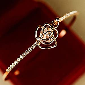 JASSINS Elegant Bracelet Women's Crystal Rose Flower Bangle Cuff Bracelet Jewelry Gold
