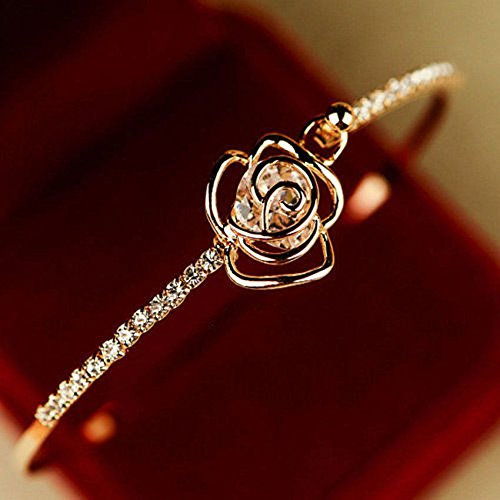 Elegant Bracelet  Women's Crystal Rose Flower Bangle Cuff Bracelet Jewelry Gold by Klicnow