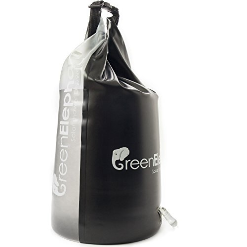 Combination Solar Shower Dry Bag - 5 Gallon Outdoor Solar Shower quickly converts into Waterproof Dry Bag - Ideal for Camping, Hiking, Fishing, Hunting, Beach Trips & More - by Green Elephant