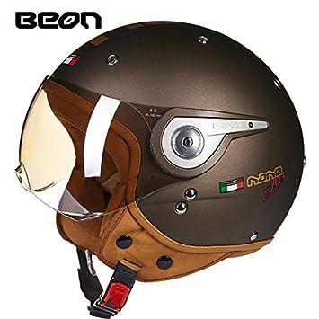 LEENY Retro Jet Helm Herren Halberhelm Motorradhelm mit Vintage Maske Leder Jethelm Scooter-Helm Open Face 3//4 Motorr/äder Moped Roller Bike Helmet f/ür M/änner Damen