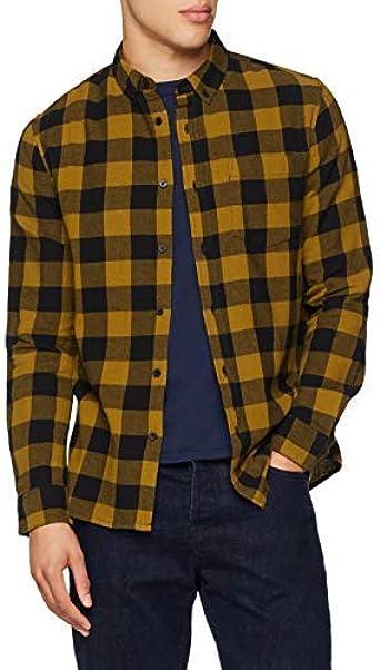 New Look Buff Check Camisa Manga Larga, Amarillo (Mid Yellow ...