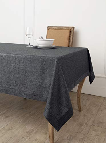 (Solino Home 100% Linen Tablecloth - 60 x 90 Inch Charcoal Grey, Natural Fabric, European Flax - Athena Rectangular Tablecloth for Indoor and Outdoor use)