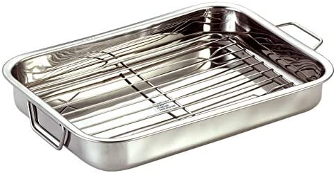 Chef Direct Stainless Steel Roast Pan with Grill Rack Folding Handles Rectangular Lasagna Pan for Baking, Grilling, Roasting OTG Oven Safe With Grill Roasting Rack 30cm X 21cm