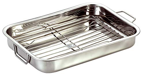 Stainless Steel Roast Pan with Grill Rack & Folding Handles // CHEF DIRECT // Rectangular Lasagna Pan for Baking, Grilling, Roasting // OTG Oven Safe (With Grill Roasting Rack (35cm X 24cm)) - Au Gratin Steel Dish Stainless