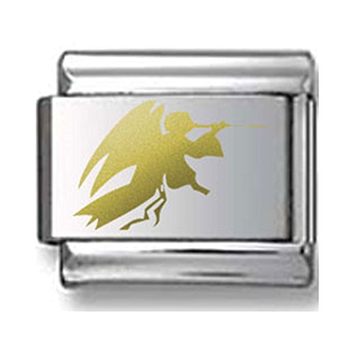 Gold Angel Silhouette Laser Italian Charm