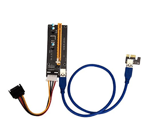 Extender Cable, Rukiwa PCI-E Express Powered Riser Card W/ USB 3.0 extender Cable 1x to 16x Monero Mini Pci Wireless Board