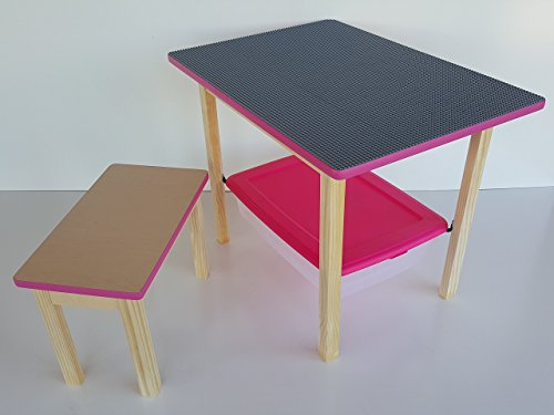 Deluxe large LEGO table - LEGO-Compatible table with matching bench and storage bin - Pink trim Custom Height Activity Table