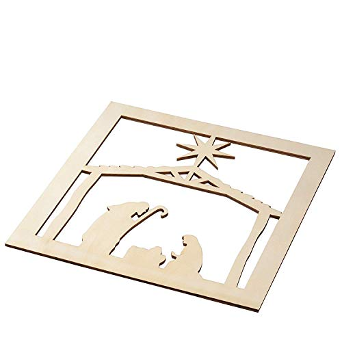 (Genie Crafts 2-Piece Unfinished Wooden Nativity Scene Cutout, Christmas Wall Art Decor for Painting, DIY Wood Crafts, and Signs, 11.6 x 0.2 Inches)