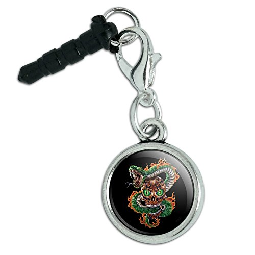 - Fire Snake and Skull Biker Motorcycle Flames Racing Mobile Cell Phone Headphone Jack Anti-Dust Charm fits iPhone iPod Galaxy