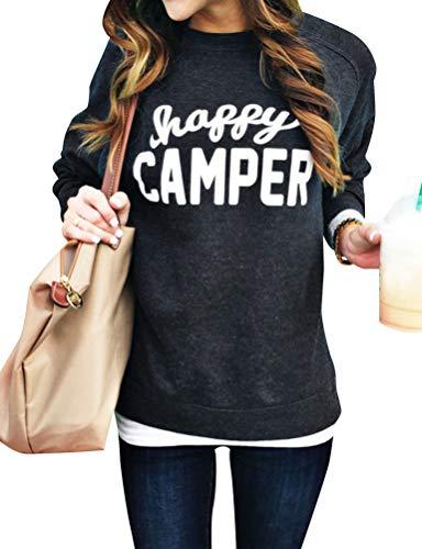 SCX Women Plus Size Long Sleeve Happy Camper Letter Print Sweatshirt Tops Blouse
