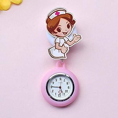 GAYOUS Reloj Broche Bolsillo Enfermeras,Mesa de Enfermera retráctil de Dibujos Animados, Reloj Colgante Reloj de Bolsillo médico Estuche Acolchado-lechoso,Broche de Reloj de Bolsillo: Amazon.es: Hogar