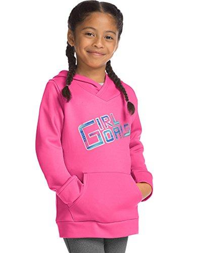 Hanes Big Girls' Tech Fleece Raglan Pullover Hoodie, Girl Goals/Pink Extreme, Medium (Fleece Raglan Sweatshirt)