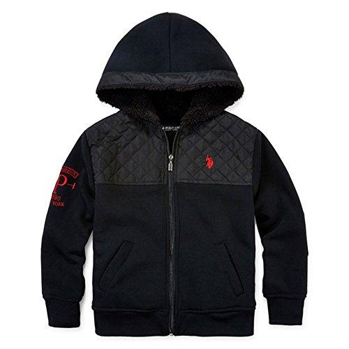 U.S. Polo Assn. Little Boys' Sherpa Lined Fleece Hooded Jacket, Black, 5/6