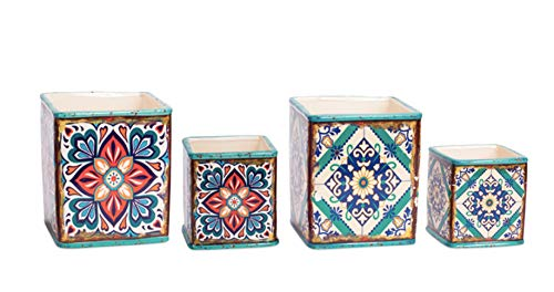 - Set of 4 Assorted Ceramic Planters with Mediterranean Tile Motif