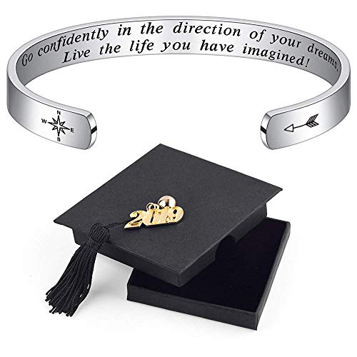 IEFSHINY Graduation Bracelet 2019 for Women - Inspirational Quote Mantra Cuff Bangle Bracelet High School College Graduation Gifts for Her Women Teen Girls
