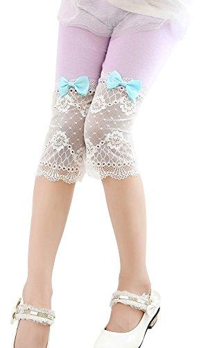 BogiWell Girls Cute Lace Capris Leggings Tights Summer Capri Pants Purple(US 4-5Y,Tag 110)